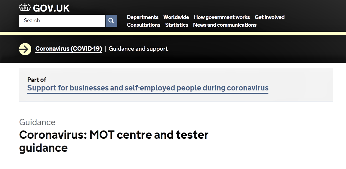 Coronavirus Guidance on MOT and Test Centre